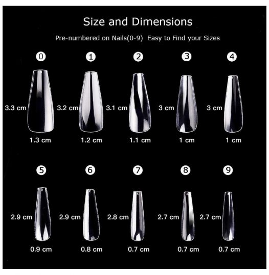 Use this sizing chart to measure nails