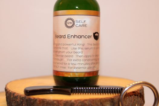 Beard Enhancers on pieces of wood with scissors and a combo for beard grooming
