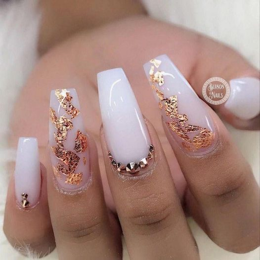 Milky White Stiletto with Pearls N Gold - Pin Inspired - Pretty and Pressed Nails