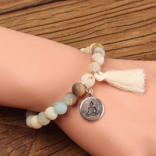Buddha Charm Mala Bracelet with Tassel and Natural Stone - SOUL IMPACTFUL