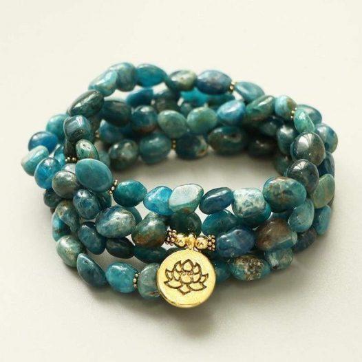 Natural Apatite Stone 108 Bead Meditation Bracelet - SOUL IMPACTFUL