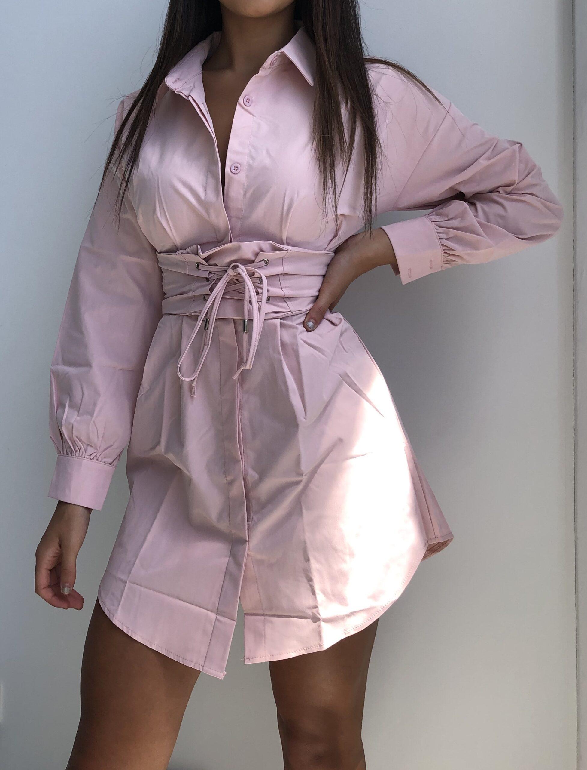 Pink Stass Shirt Dress