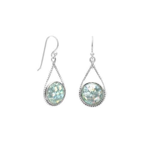 Pear shape sterling silver french wire drop earrings with 11mm round pieces of Roman glass