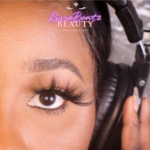 Maliyah lash style depicted on music artist Charisse Sky in studio booth with headphones