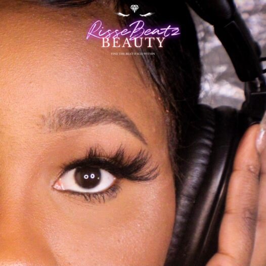 Reign lash style depicted on music artist Charisse Sky in studio booth with headphones