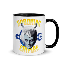 "White, ceramic mug with graphic, 11 oz. ceramic mug with Black color inside and Black handle. Typography around image reads, ""Andorian Empire."""