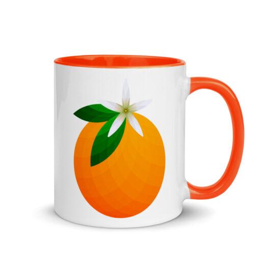 White, ceramic mug with graphic, 11 oz. ceramic mug with Orange color inside and Orange handle. Decoration is an orange.