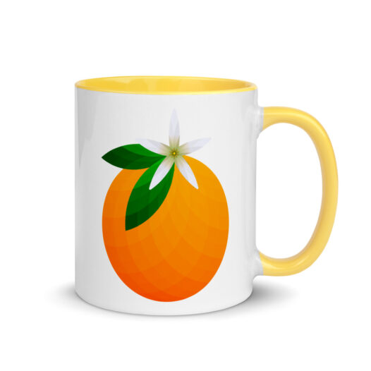 White, ceramic mug with graphic, 11 oz. ceramic mug with Yellow color inside and Yellow handle. Decoration is an orange.