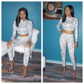 Black/White/Grey Two Piece Crop and Leggings Set