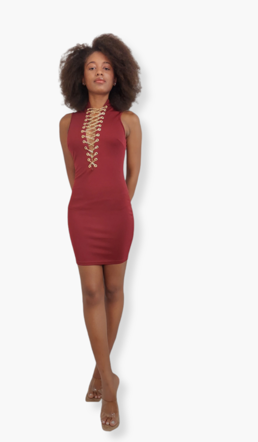 Beautiful Red dress with gold chains