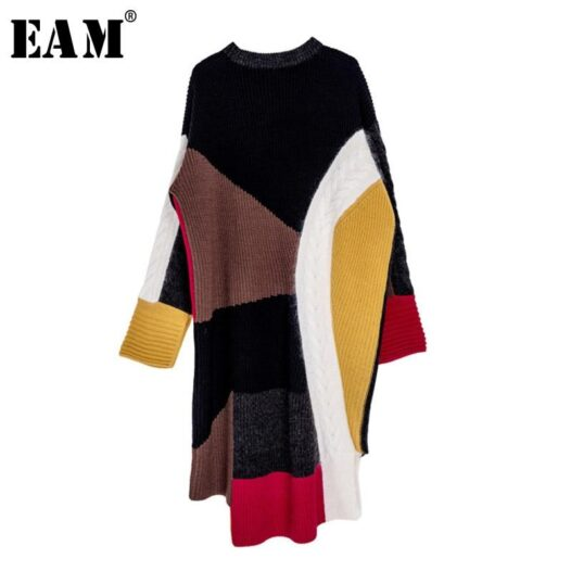 [EAM] Women Colorful Irregular Knitting Big Size Dress New Round Neck Long Sleeve Loose Fit Fashion Autumn Winter 2020 13S828 - Adore Me Lovely