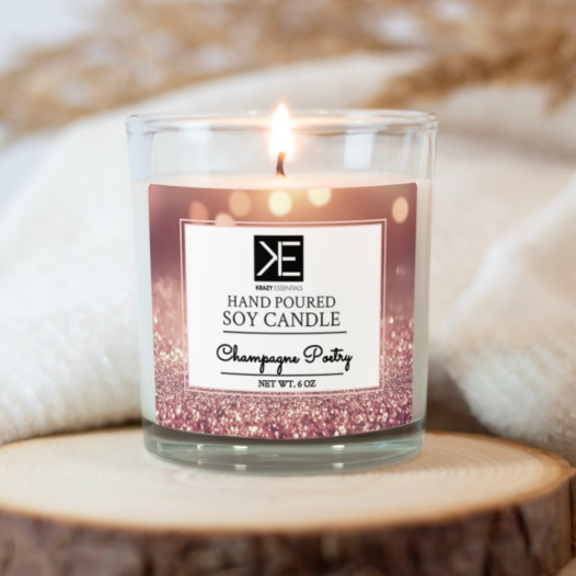 champagne poetry soy candle