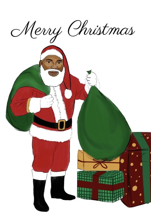 Merry Christmas Card featuring an African American Santa Claus holding gifts.