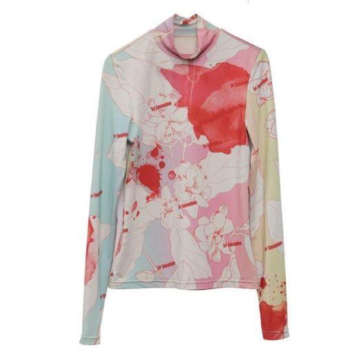 [EAM] Women White Pattern Print Split Temperament T-shirt New Turtleneck Long Sleeve  Fashion Tide  Spring Autumn 2020 1N112 - Adore Me Lovely